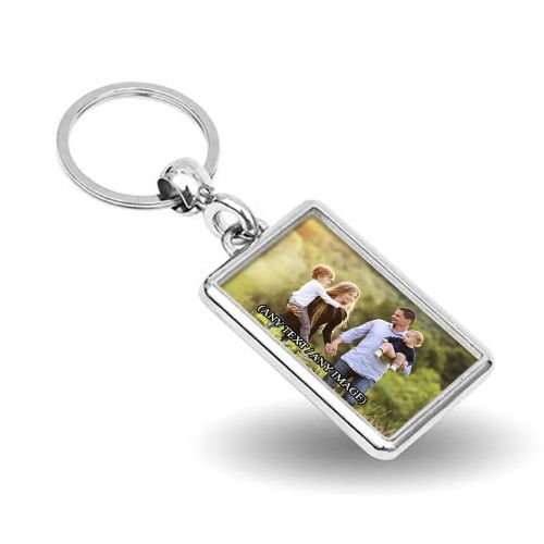Personalised Any Picture / Any Text Rectangle Metal Keyring (Single Sided)